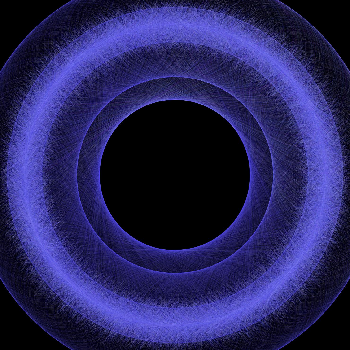 Linien verbinden Punkte auf unterschiedlichen Kreisbahnen und ergeben dadurch interessante Muster. Eine weitere modifizierte Linienfunktion simuliert Haare.