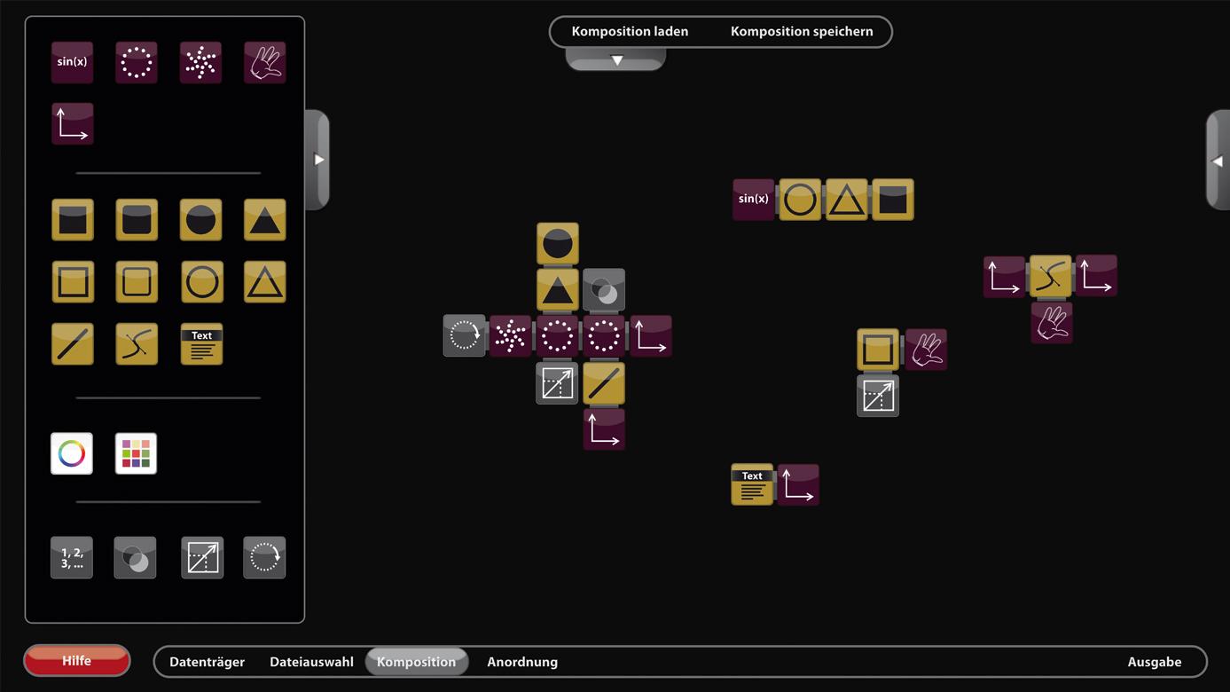 Auf der Kompositionsfläche werden die Magnetsteine zu komplexen Algorithmen verbunden.