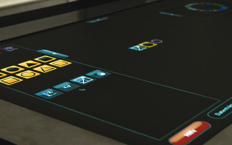 Im Hauptbildschirm kann sich der Nutzer über ein Menü seine Bausteine zusammenstellen.