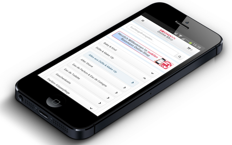 Rossmann Smartphone Shop Projektbild.