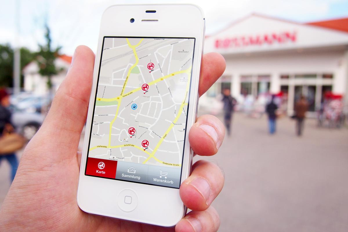 Der Nutzer hat immer im Blick, wo er sich gerade befindet und wo in der Nähe die nächste Filiale ist.