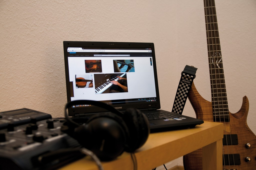 In seiner Session kann man durch die Webcams der Mitmusiker sehen und sich diese frei anordnen.